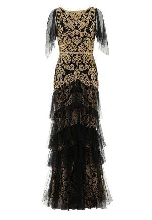 Marchesa Notte Embriodered Tiered Flutter-Sleeve gown for rent in UAE