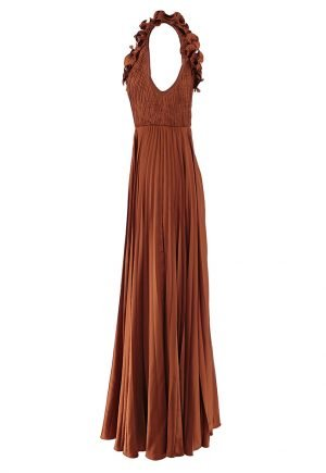 AMUR Aviva pleated ruffle shoulder gown for rent in UAE