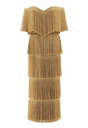 Anaya Collection gold tassel dress for rent in UAE