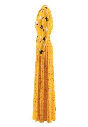 Self Portrait Floral Twist Neck Maxi dress in Yellow for rent in UAE