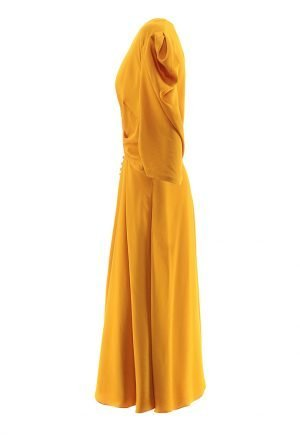 Jonathan Simkhai ruched front sateen dress in yellow for rent in UAE