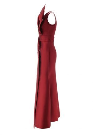 Sachin and Babi red embroidered gown with bow sash for rent in UAE