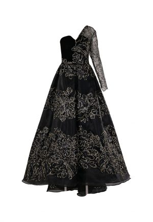 Sophie Couture black mono sleeve ball gown for rent in UAE
