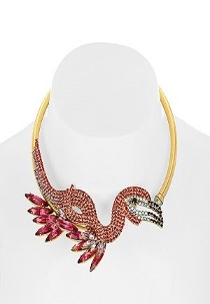 Elizabeth Cole 24 karat gold plated Swarovski crystal and stone choker for rent in UAE