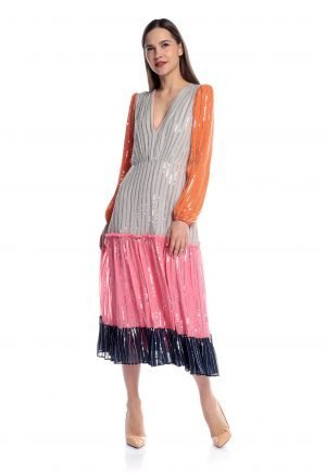 Saloni Devon Colour block Silk Sequin dress for rent UAE