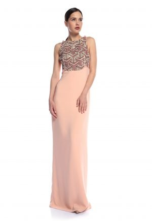 Elisabetta Franchi Embroidered Column dress for rent UAE
