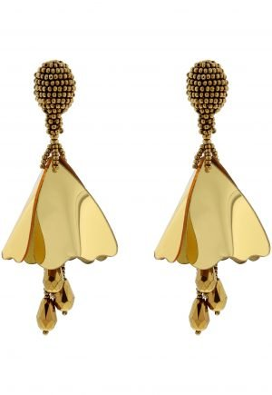 Oscar de la Renta Gold Small Impatiens Earrings for rent in UAE